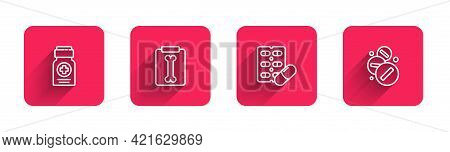 Set Line Medicine Bottle, X-ray Shots, Pills Blister Pack And Pill Or Tablet With Long Shadow. Red S