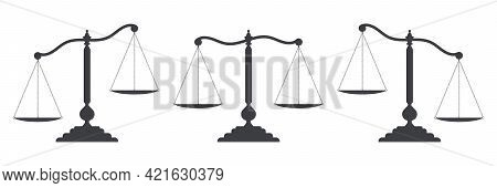 Scales Of Justice Set. Dark Empty Scale Isolated On White Background. Bowls Of Scales In Balance, An