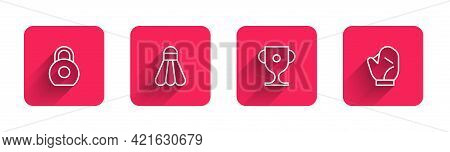 Set Line Kettlebell, Badminton Shuttlecock, Award Cup And Baseball Glove With Long Shadow. Red Squar