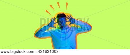 Contemporary Art Collage, Modern Design. Retro Style. Man On Green Studio Background In Magazine Sty