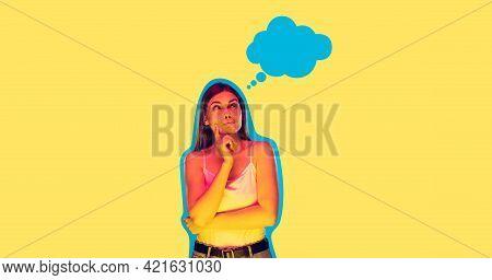 Contemporary Art Collage, Modern Design. Retro Style. Woman On Yellow Studio Background In Magazine