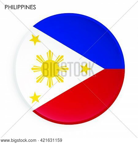 Flag Of Republic Of Philippines Icon In Modern Neomorphism Style. Button For Mobile Application Or W