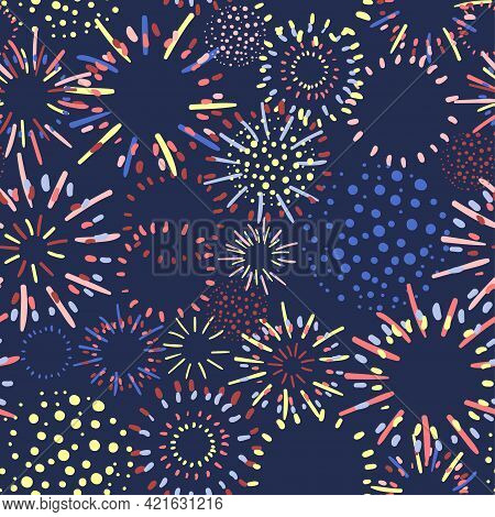 Vector Seamless Pattern With Fireworks In Variety Of Bright Colors Can Be Used For Wallpaper, Textil