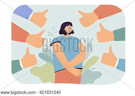 Happy Woman Getting Public Approval. Flat Vector Illustration. People Showing Respect By Hands With