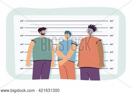 Police Lineup Flat Vector Illustration. Suspected Criminals Standing In Mugshot Background At Police