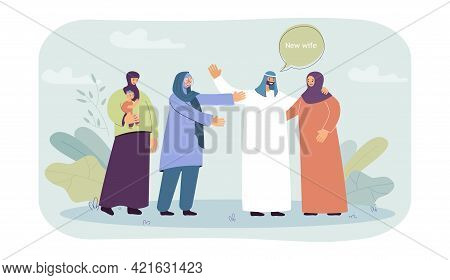 Muslim Man Welcoming New Wife Into His Family. Flat Vector Illustration. Polygamous Marriage, Two Wo