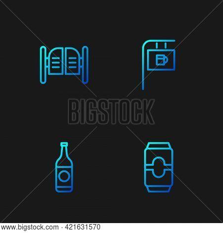 Set Line Beer Can, Bottle, Saloon Door And Street Signboard With Bar. Gradient Color Icons. Vector