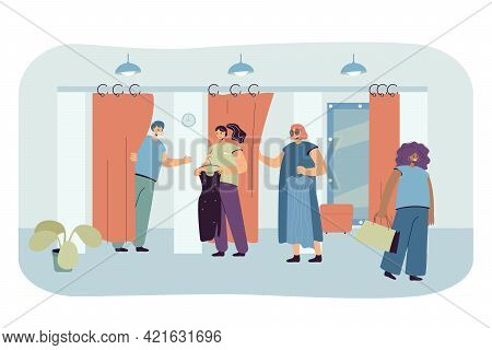 Cartoon People Trying On Clothes In Fitting Room. Flat Vector Illustration. Shop Assistant Helping C
