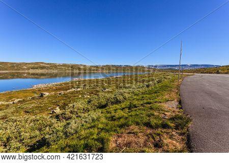 Hardangervidda Mountain Plateau Landscape. National Tourist Hardangervidda Route. Norway In Summer.