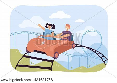 Happy Kids Riding On Rollercoaster. Flat Vector Illustration. Boy And Girl Sitting In Car, Riding Hi