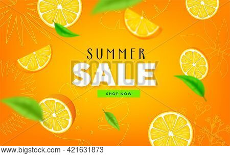 Fruity Summer Sale Colorful Banners With Orange Tropical Fruits Abstract Background Layout Banners.