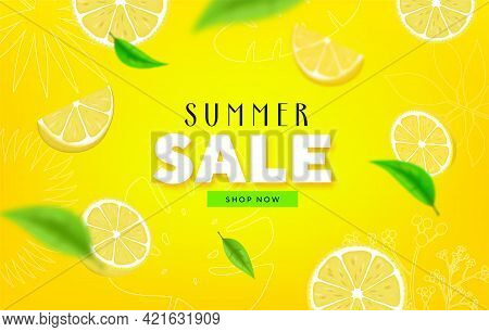 Fruity Summer Sale Colorful Banners With Lime, Lemon Tropical Fruits Abstract Background Layout Bann