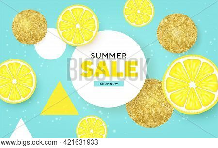 Fruity Summer Sale Colorful Banners With Lime, Lemon Tropical Fruits Golden Circles Abstract Backgro