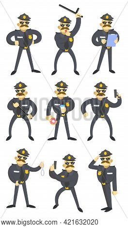 Set Of Funny American Policemen. Cartoon Vector Illustration. Police Officer Character In Uniform Wi