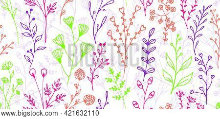 Field Flower Sprouts Hand Drawn Vector Seamless Pattern. Delicate Herbal Fabric Print. Meadow Plants