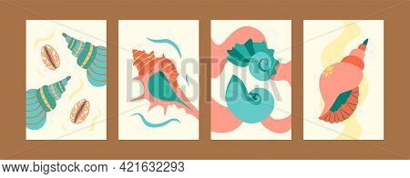 Illustration Set For Sea World Concept In Creative Style. Seashore Images Set In Pastel Colors. Cute