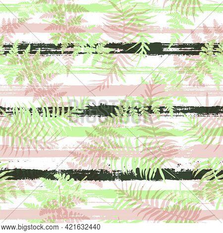 Jungle New Zealand Fern Frond And Bracken Grass