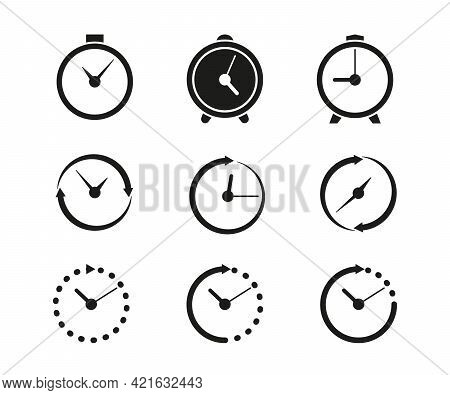 Set Timer Icon, Hour Time With Arrows And Circle Watch. Service 24 Hours Day. Helpline, Deadline Or