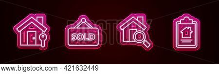 Set Line House With Key, Hanging Sign Text Sold, Search House And Contract. Glowing Neon Icon. Vecto