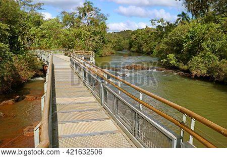 Boardwalk Over The Iguazu Falls Of Argentinian Side, Unesco World Heritage In Puerto Iguazu, Argenti