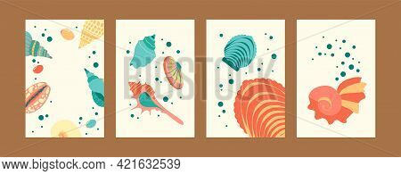 Marine Illustration Set In Pastel Colors. Seashore Images Collection In Creative Style. Cute Seashel