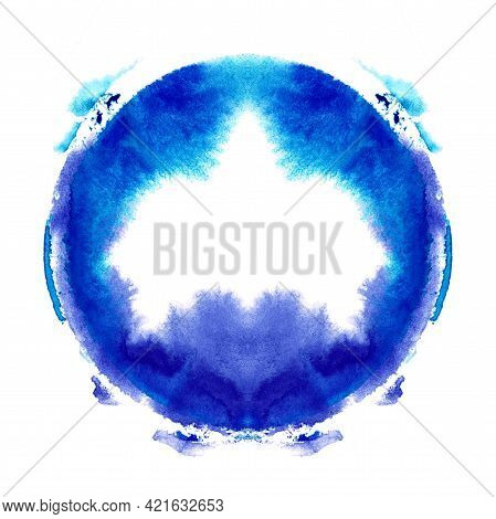 Blue Wet Hand Painted Symmetric Circle. Colorful Watercolor Design Element. Artistic Background For