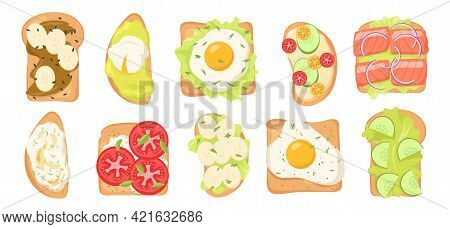 Toasts With Various Toppings Vector Illustrations Set. Collection Of Bread Slices With Eggs, Lettuce