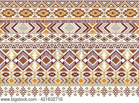Rhombus And Triangle Symbols Tribal Ethnic Motifs Geometric Seamless Background. Impressive Geometri
