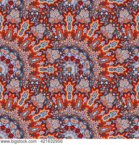 Mandala Flower Seamless Pattern. Hindu Ethnic Vector Composition. Lace Bohemian Mandala Floral Seaml
