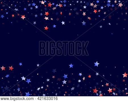 American Patriot Day Stars Background. Holiday Confetti In Us Flag Colors For President Day. Solemn