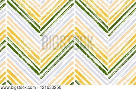Scribble Zigzag Fashion Print Vector Seamless Pattern. Paint Brush Stroke Geometric Stripes. Hand Dr