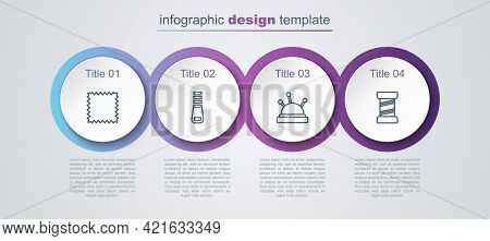 Set Line Leather, Zipper, Needle Bed And Needles And Sewing Thread. Business Infographic Template. V