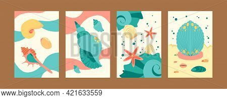 Colorful Marine Collection Of Contemporary Art Posters. Sea World Illustration Set In Pastel Colors.