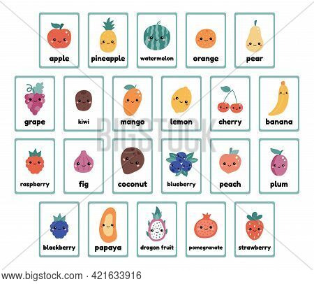 Printable Fruits And Berries Flashcards Collection For Learning English Words. Cute Cartoon Kawaii F