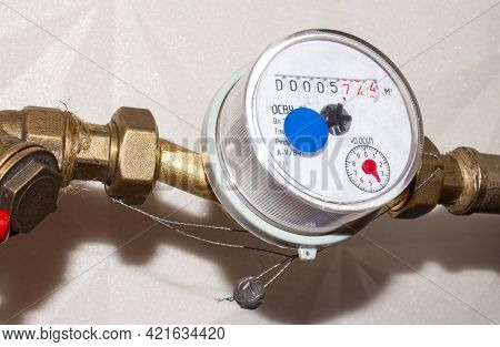 The Water Meter Is Universal.a Meter For Measuring The Volume Of Water In Cubic Meters.