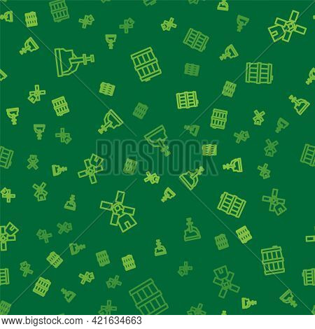Set Line Sword In The Stone, Windmill And Wooden Barrel On Seamless Pattern. Vector