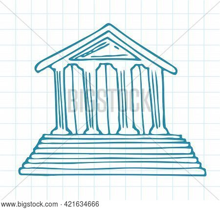Blue Pen Sketch Of A Bank Building On A School Checkered Piece Of Paper. Vector Illustration In Dood