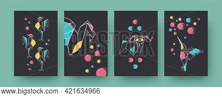 Set Of Contemporary Art Posters With Roosters And Ram. Paper Animals, Dragon, Hummingbird Vector Pas