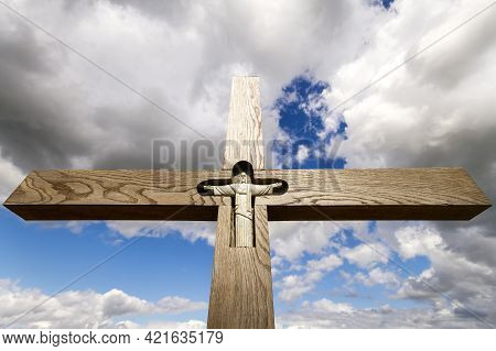 Siauliai, Lithuania - Circa July 2013 - Cross At Hill Of Crosses A Famous Site Of Pilgrimage In Nort