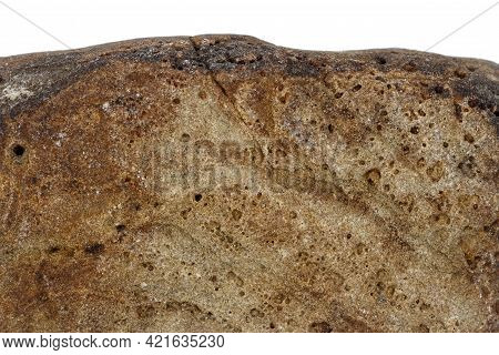 Part Of A Brown Stone Isolated On White Background.