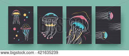 Set Of Contemporary Posters With Small Medusas. Cute Ocean Jellyfishes Vector Illustrations In Paste