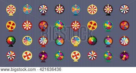 Fortune Wheel Icon Set, 3d Style Graphic For Gambling, Online Casino, Bet And Lottery. Vector Illusr