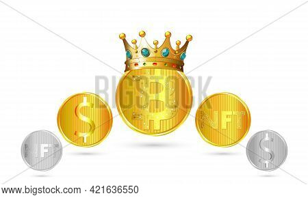 Bitcoin With Crown And Altcoins, Vector Art Illustration.