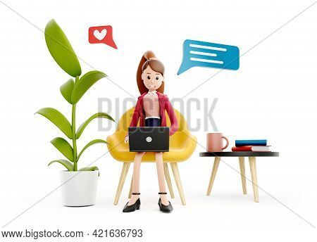 Cartoon Character Girl Sits At The Table With A Laptop. Concept Of Distance Work, Study And Communic