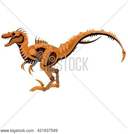 Vector Steampunk Raptor Dinosaur Lizard. Mechanical Reptile On A White Isolated Background.