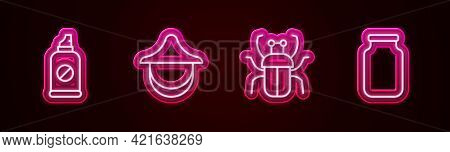Set Line Spray Against Insects, Beekeeper Hat, Stink Bug And Glass Jar. Glowing Neon Icon. Vector