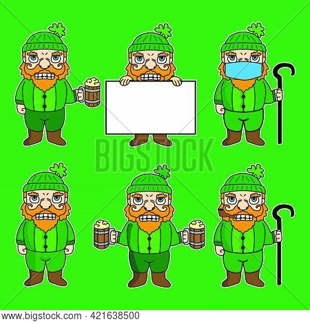 St Patrick's Dwarf Mascot Cartoon Character Illustration In Various Poses. Drinking Beer, Holding A
