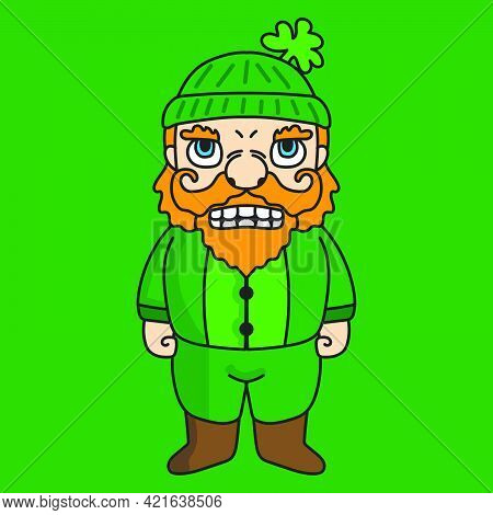 St Patrick Dwarf Mascot Cartoon Character Illustration Standing. Suitable For Stickers Or Business.