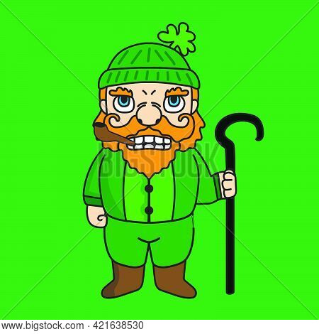 St Patrick's Dwarf Mascot Cartoon Character Illustration Holding A Stick. Suitable For Stickers Or B