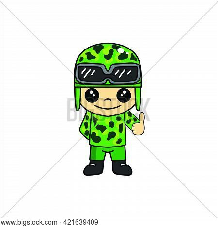 Mascot Illustration Of Cute Soldier Or Soldier Cartoon Character With Thumbs Up